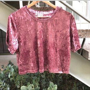Pink Crushed Velvet Crop Top NWOT